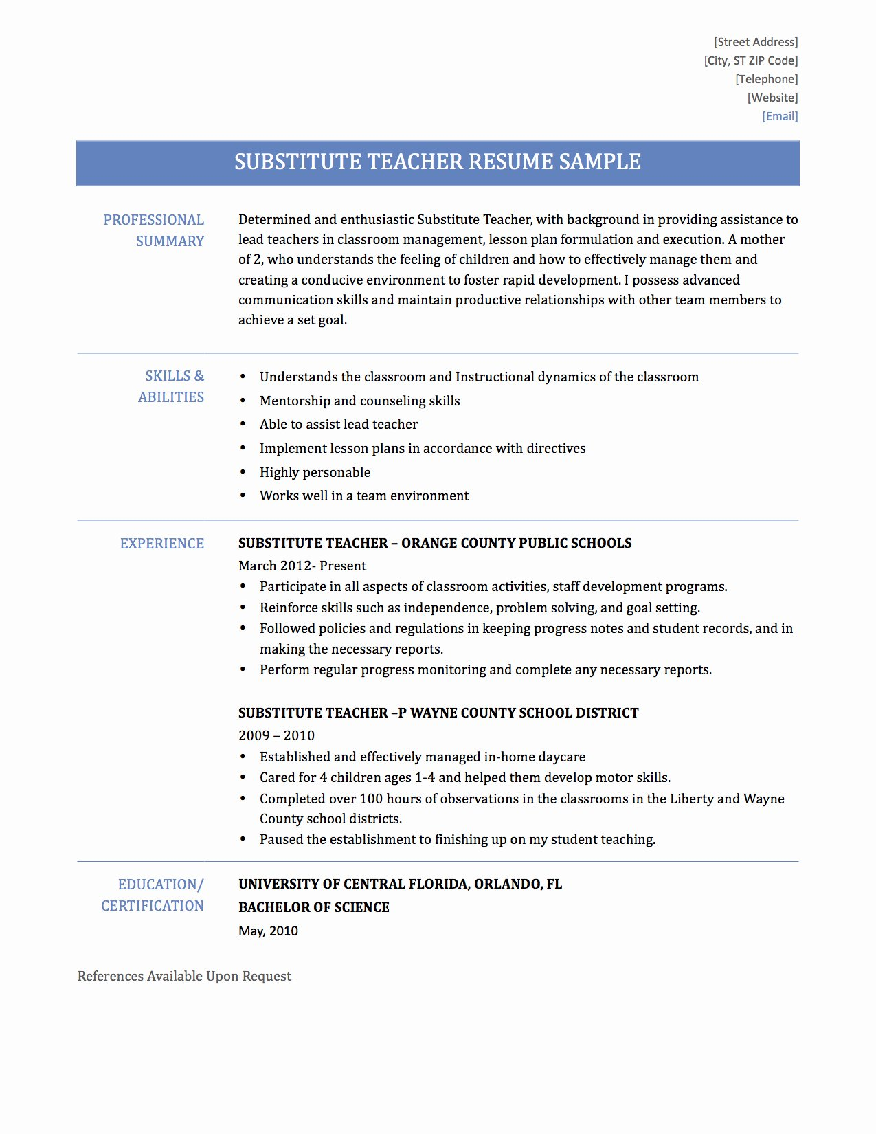 Confortable Listing Student Teaching Experience Resume