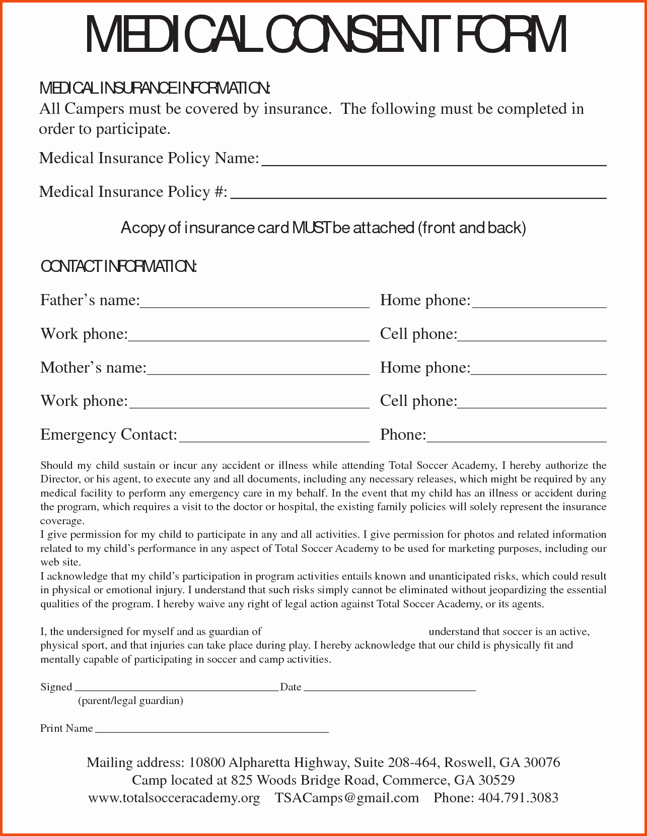 Consent Child Medical Consent form