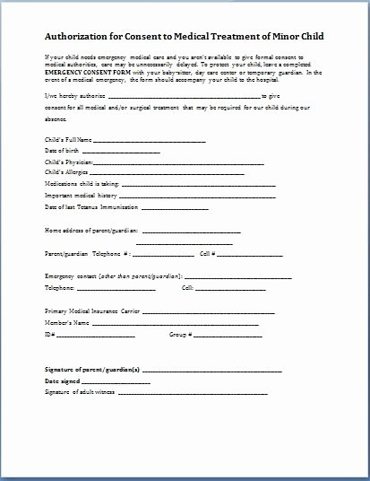 Consent for Medical Treatment A Minor Template