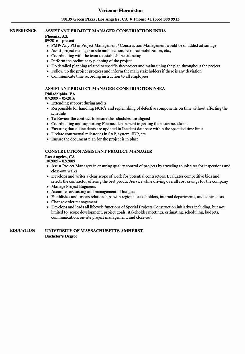 Construction assistant Project Manager Resume Samples