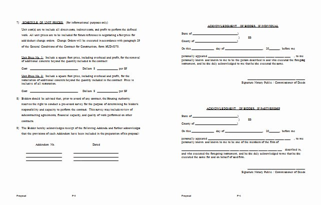Construction Bid Proposal Example Templates Resume