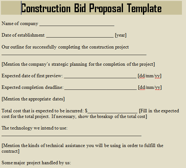 Construction Bid Proposal Template Microsoft Excel Templates