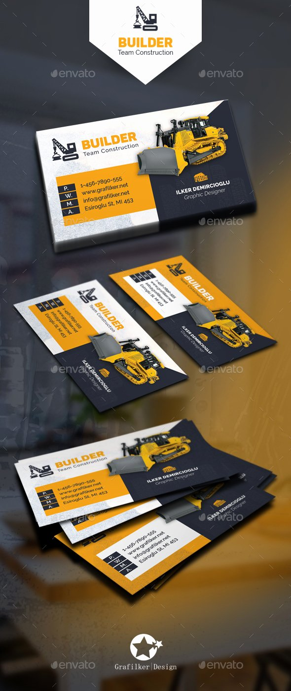 Construction Business Card Templates by Grafilker