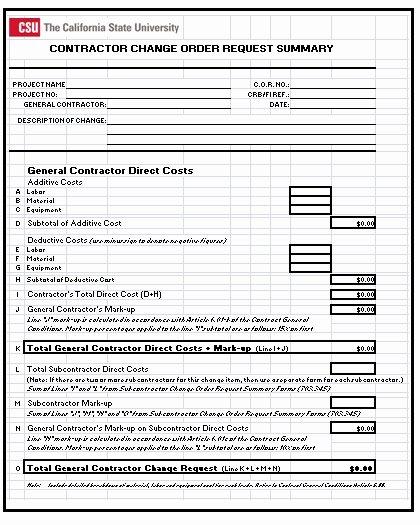 Construction Change order form Staruptalent