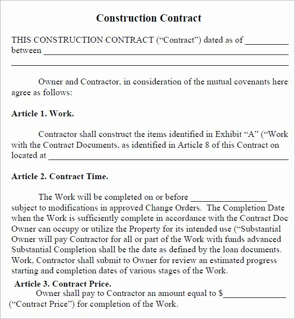 Construction Contract Pdf Residential