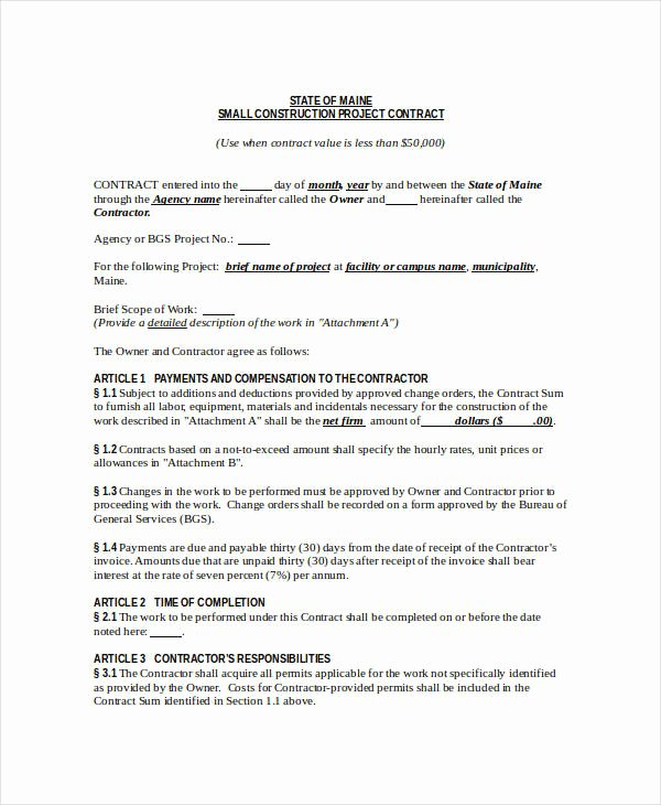 Construction Contract Template 12 Free Word Pdf
