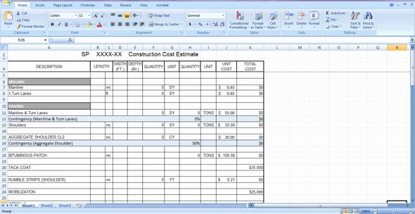 Construction Cost Estimate Template Free Download In