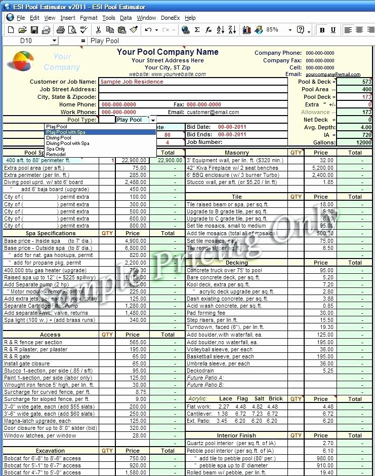 Construction Estimate Excel Template Construction Cost