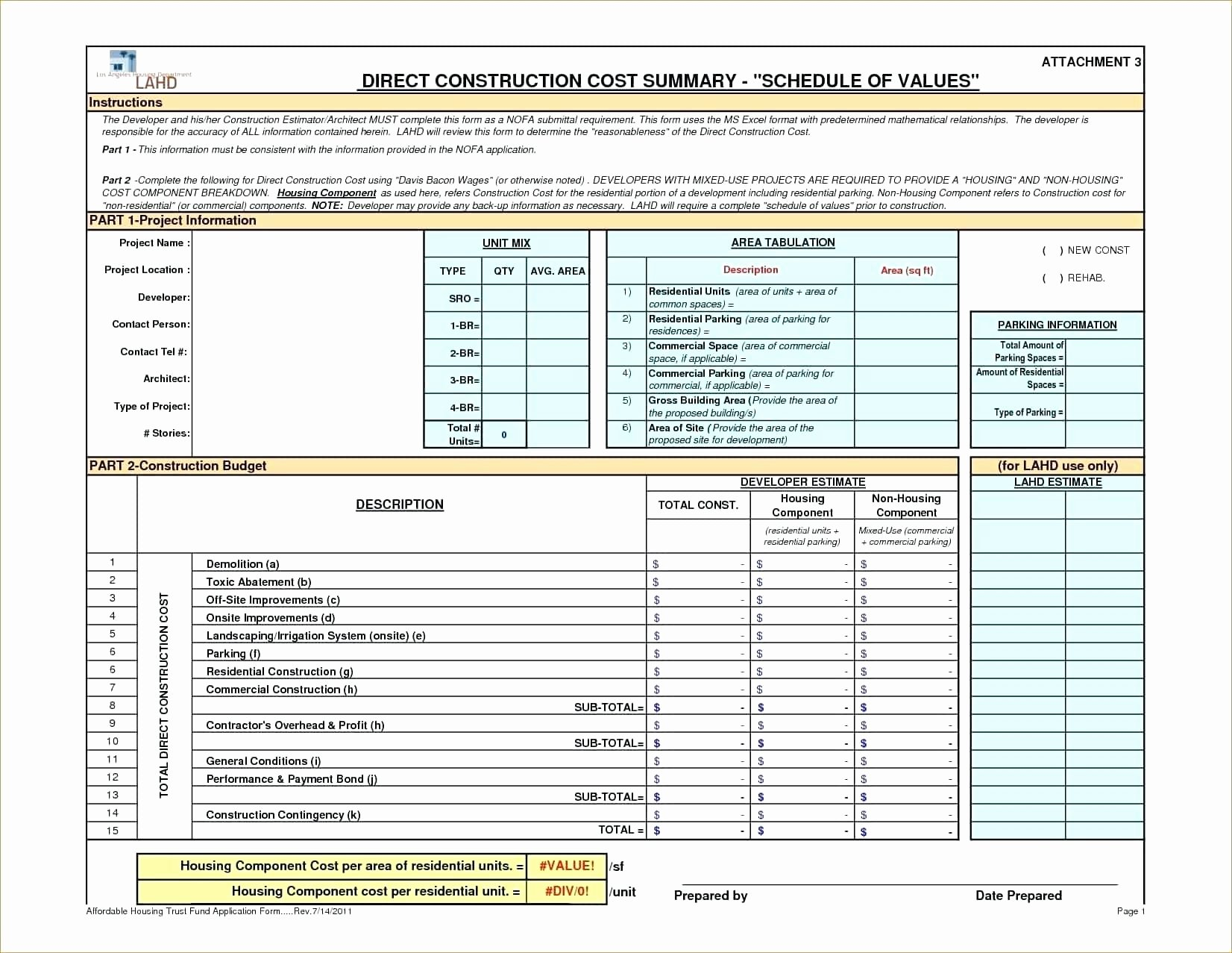 Construction Estimate Template Excel