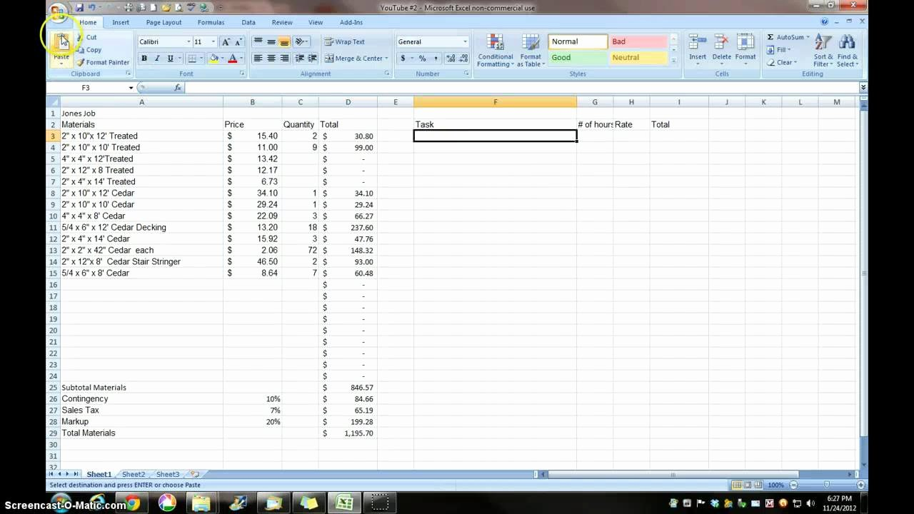 Construction Estimating Construction Estimating Excel