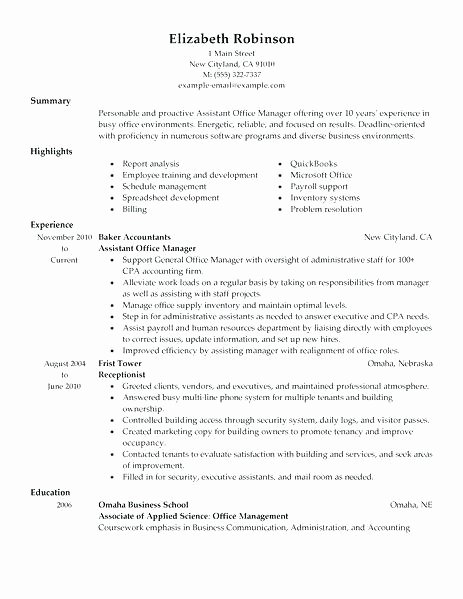 Construction Fice Manager Job Description for Resume