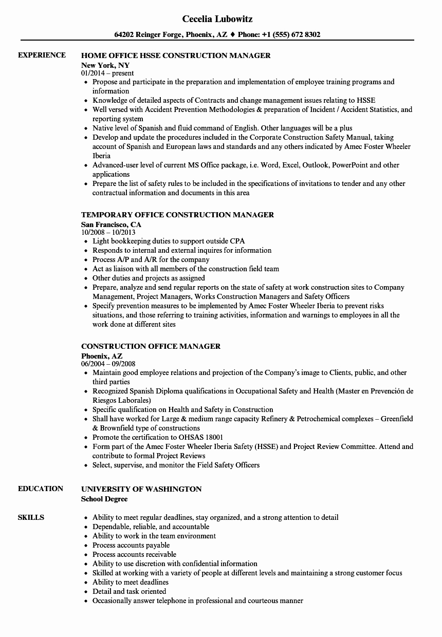 Construction Fice Manager Resume Samples