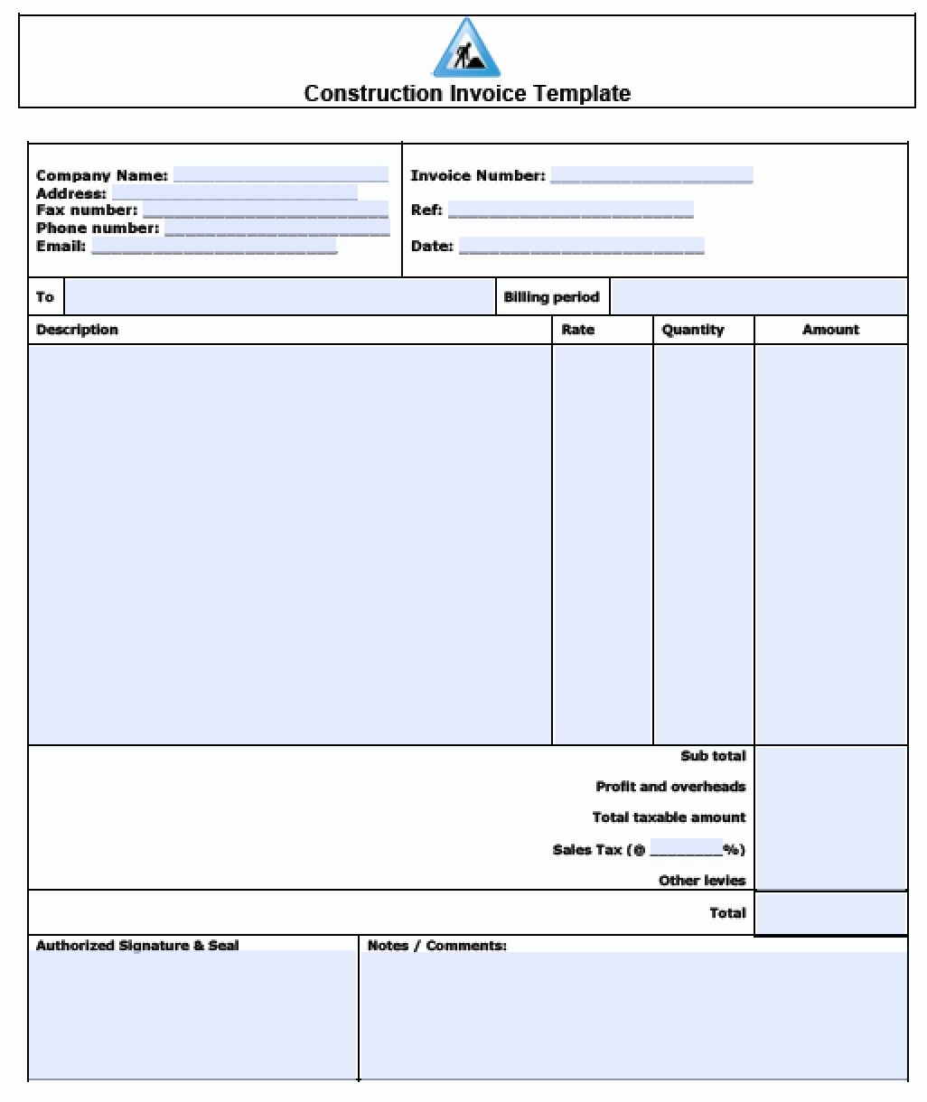 Construction Invoice Template Excel