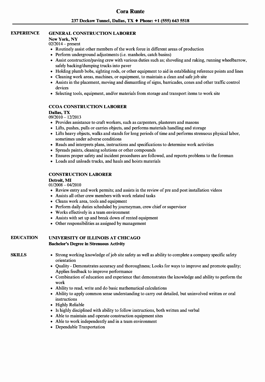 Construction Laborer Resume Samples