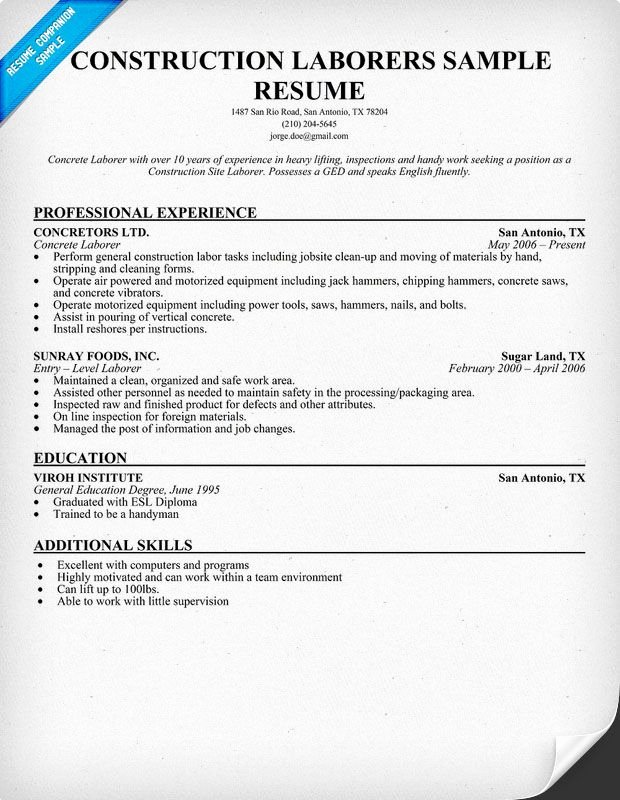 Construction Laborers Resume Sample Resume Panion