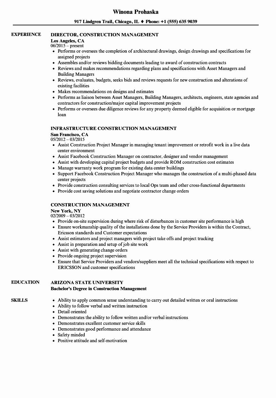 Construction Management Resume Samples