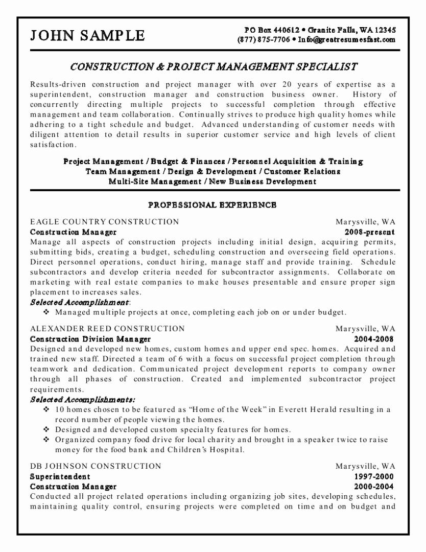 Construction Management Resume