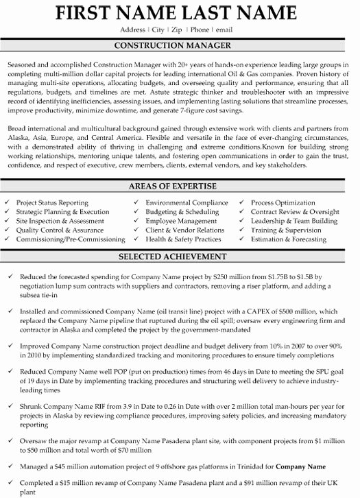 Construction Manager Resume Sample & Template
