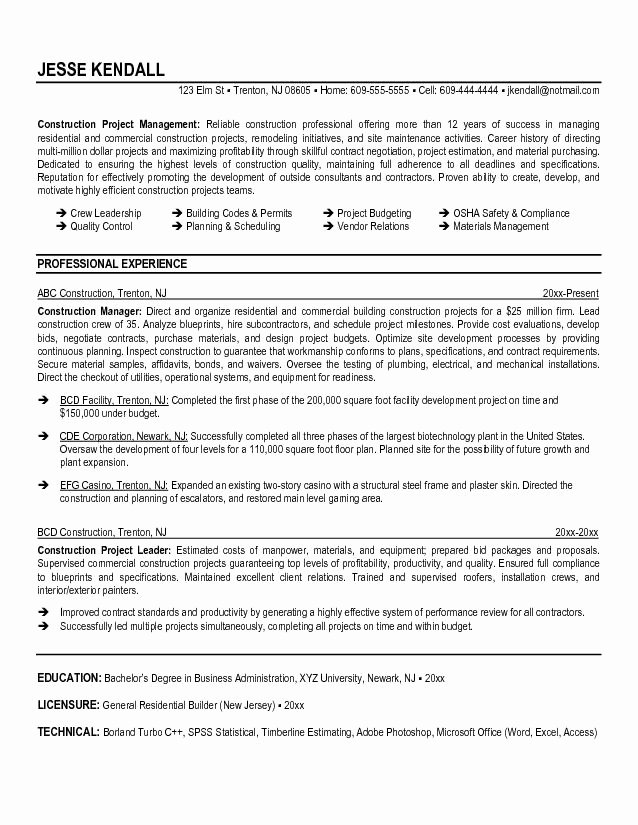 Construction Manager Resume