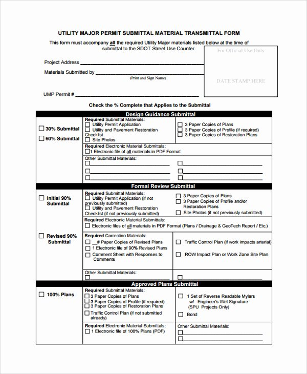 Construction Material Submittal form Template Templates