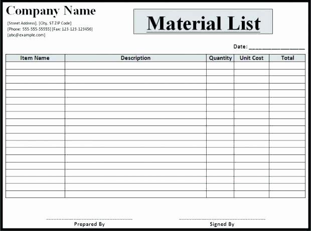 Construction Materials List Excel Free Construction