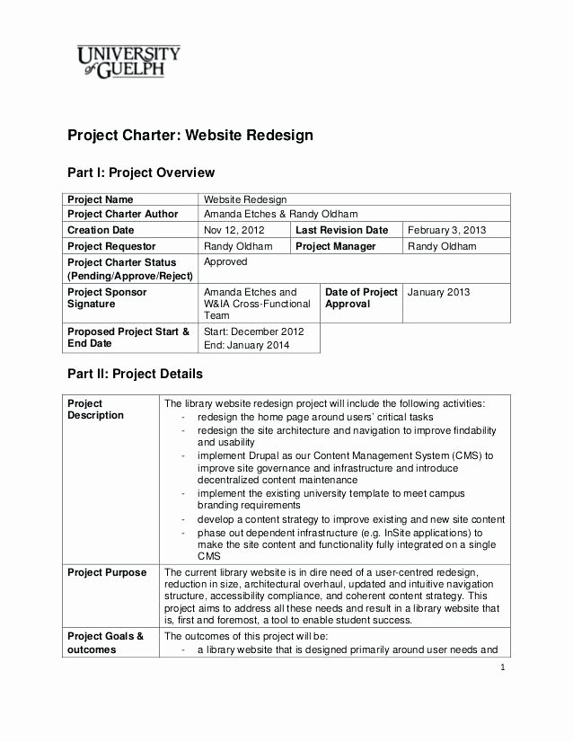 Construction Project Charter Template Pdf Team Charters