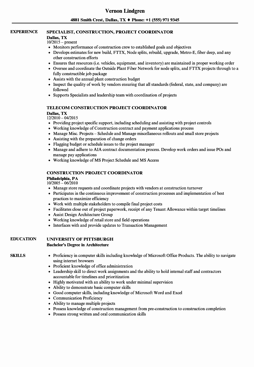 Construction Project Coordinator Resume Samples