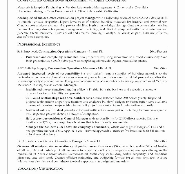 Construction Project Manager Resume Example A