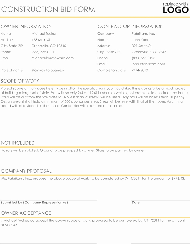 Construction Proposal & Quote Templates Download In