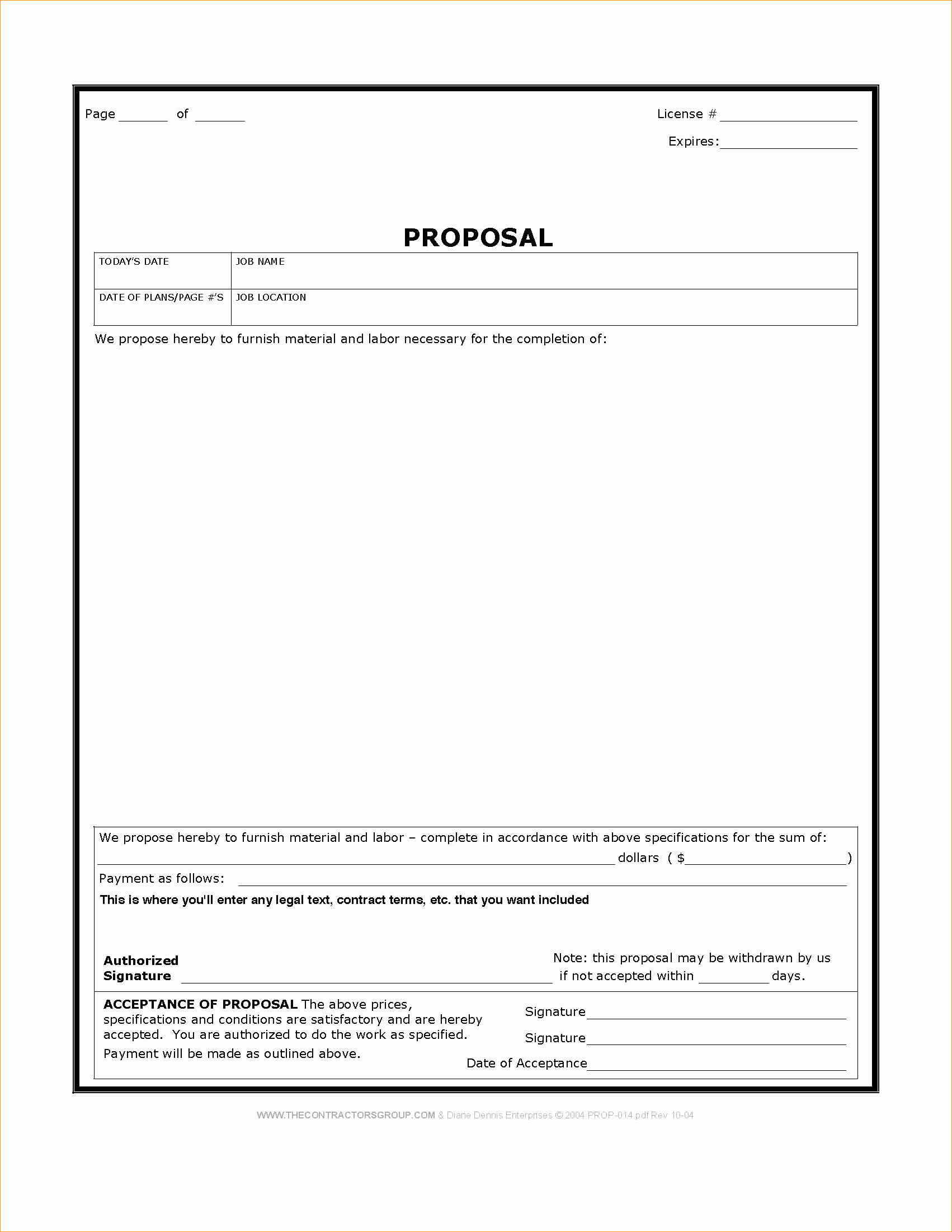 Construction Proposal Template Word Business Proposal