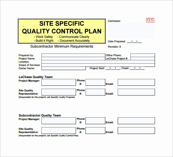 Construction Quality assurance Plan Template Templates
