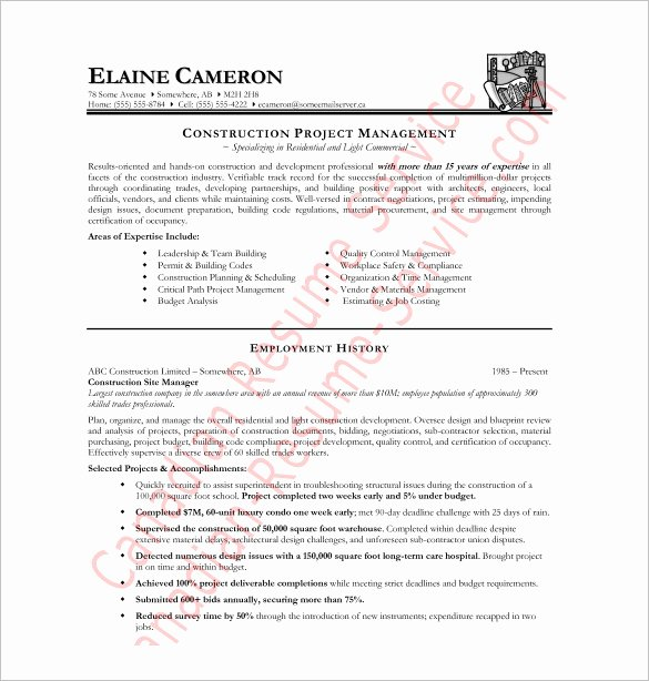 Construction Resume Template – 9 Free Word Excel Pdf