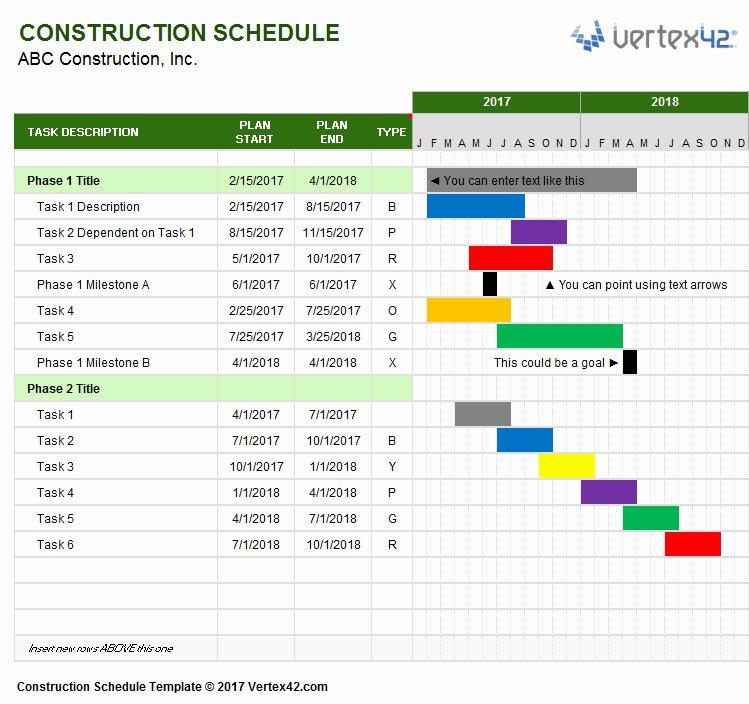 Construction Schedule Gantt Chart Template Templates