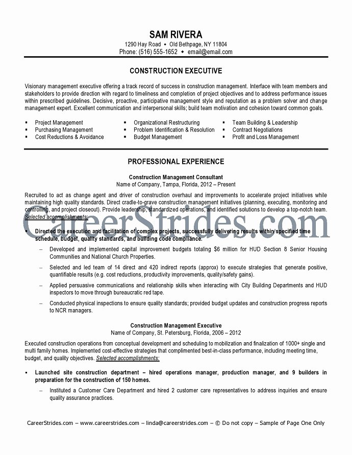 Construction Worker Objective For Resume
