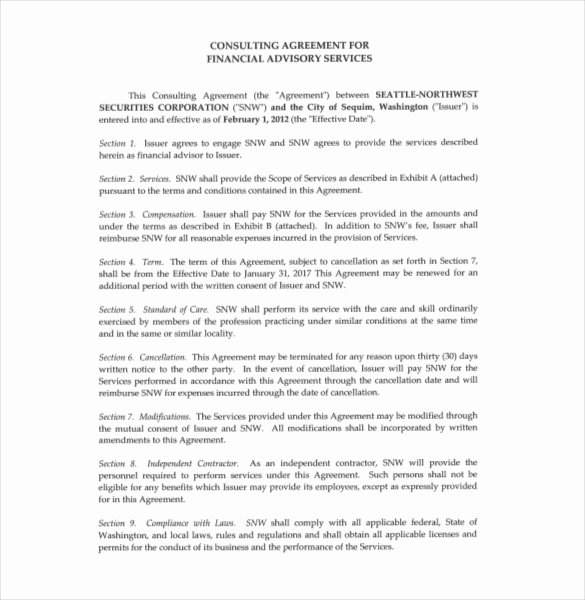 Consultant Agreement Template – 15 Free Word Pdf