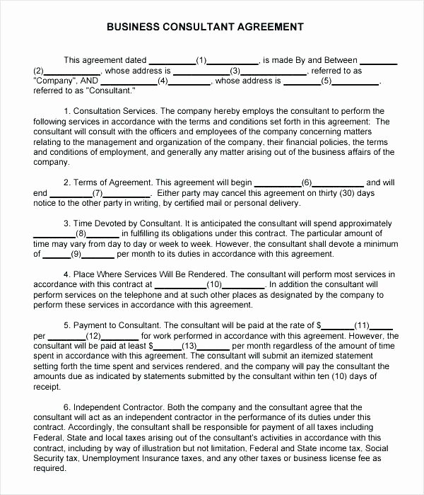 Consulting Agreement Template Independent Contractor Free