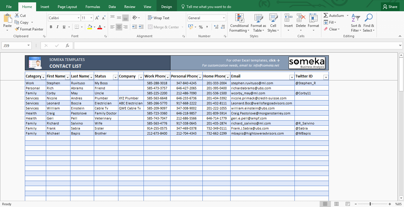 Contact List Template In Excel