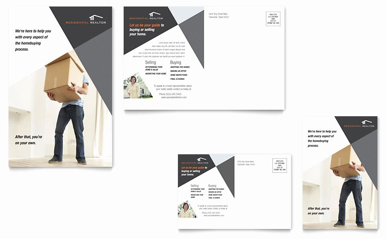 Contemporary & Modern Real Estate Postcard Template Word