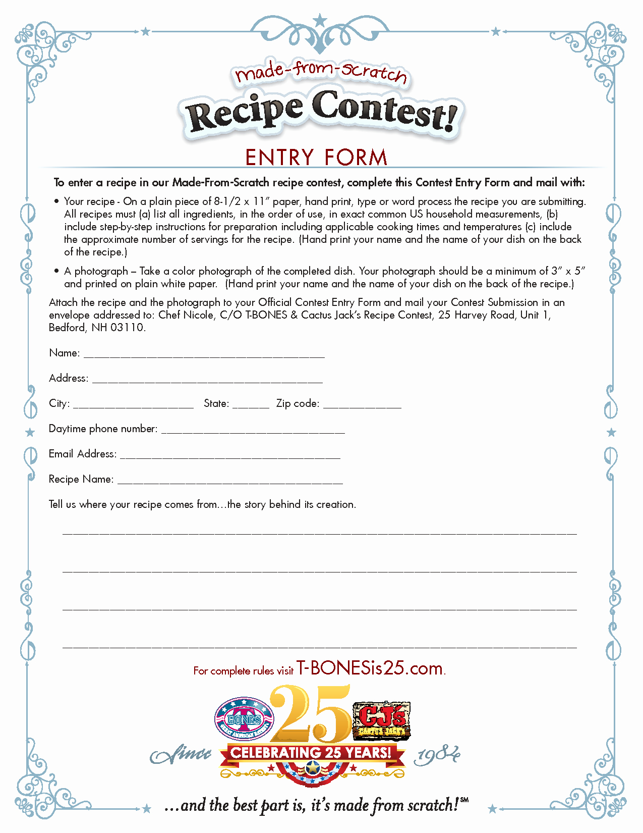 Contest Entry form Template Choice Image Template Design