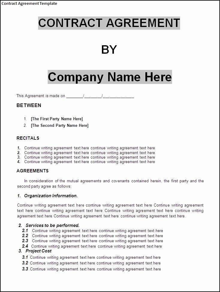 Contract Agreement Template Word Excel formats
