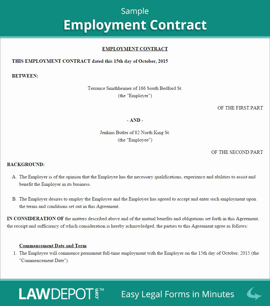Contract Employment Agreement Template Canada Templates