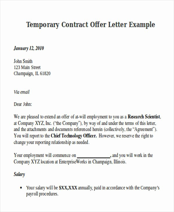 contract offer letter template