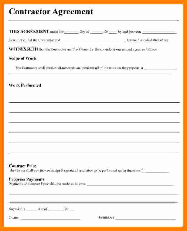 Contract for Contractors Template