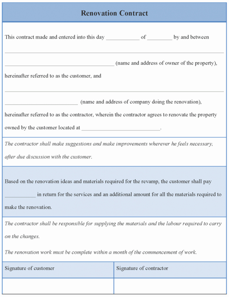 Contract Home Improvement Contract Template