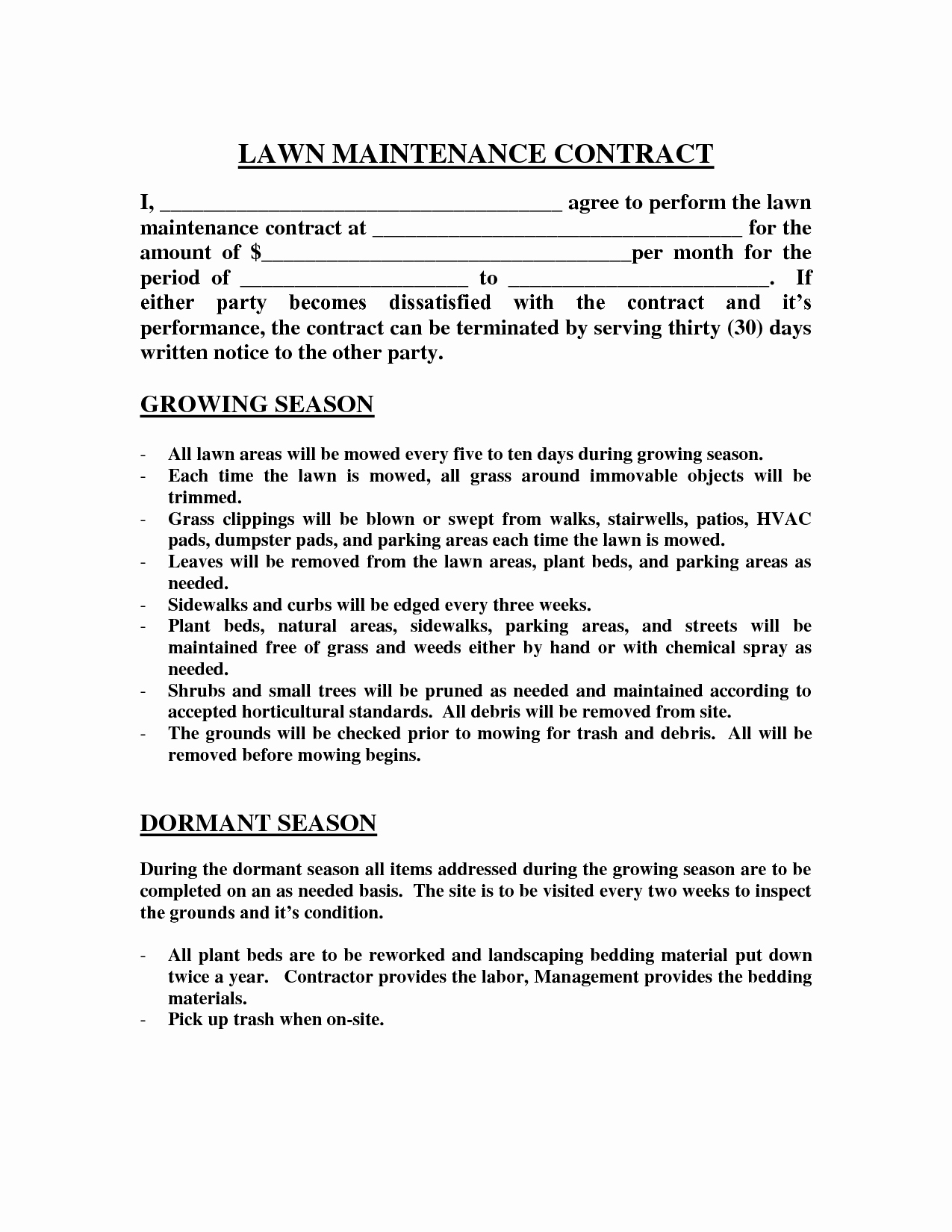 Contract Lawn Care Contract Template Lawn Care Contract