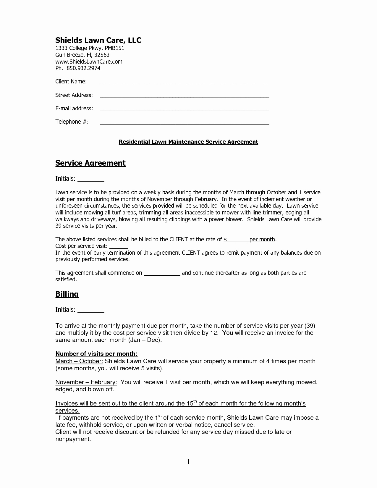 Contract Lawn Care Contract Template