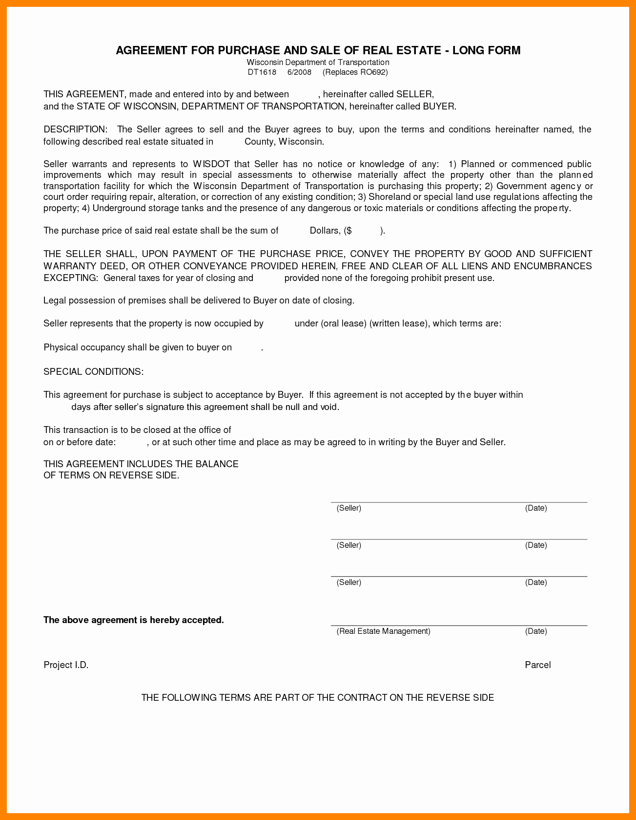 Contract Real Estate Contract form