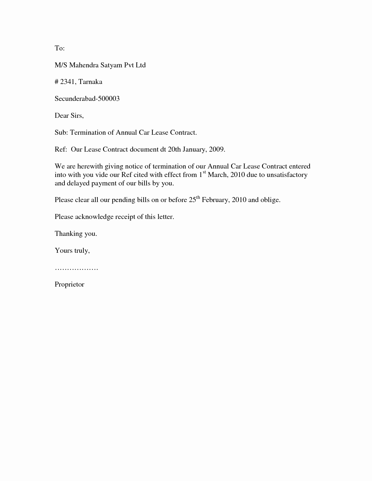 Contract Termination Letter format Best Template Collection