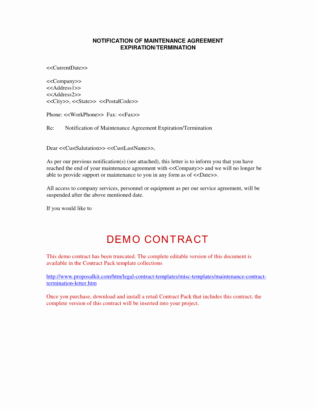 Sample Contractor Termination Letter
