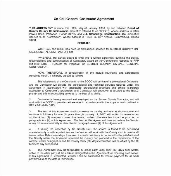 Contractor Agreement Template – 18 Free Word Pdf